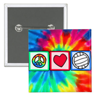 Peace, Love, Volleyball 15 Cm Square Badge
