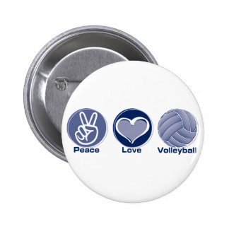 Peace Love Volleyball 6 Cm Round Badge