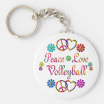 PEACE LOVE VOLLEYBALL BASIC ROUND BUTTON KEY RING