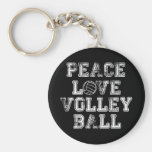 Peace, Love, Volleyball Basic Round Button Key Ring