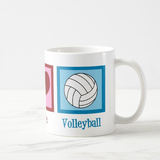 Peace Love Volleyball Basic White Mug