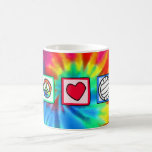 Peace, Love, Volleyball Basic White Mug