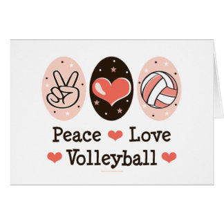 Peace Love Volleyball Blank Note Cards