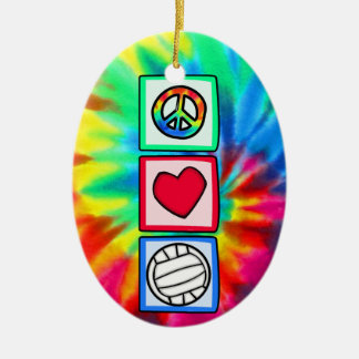 Peace, Love, Volleyball Ceramic Oval Decoration