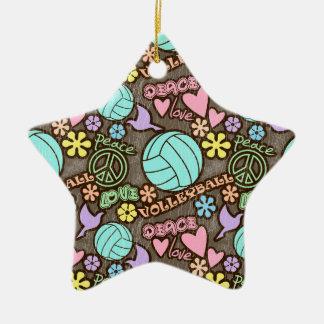 Peace, Love, Volleyball Ceramic Star Decoration