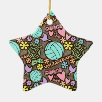 Peace, Love, Volleyball Christmas Ornament