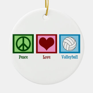 Peace Love Volleyball Christmas Ornament