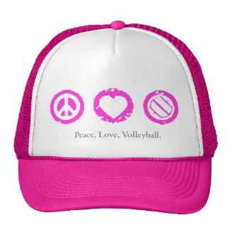 Peace, Love, Volleyball Final Pink Mesh Hats