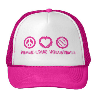 Peace, Love, Volleyball Final Pink v2 Trucker Hats