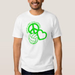 Peace-Love-Volleyball. green Tees