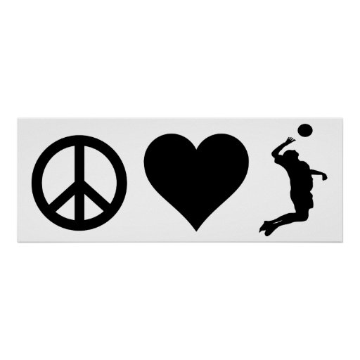 Peace Love Volleyball (Male) Poster