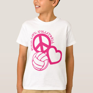 Peace-Love-Volleyball. pink T-Shirt