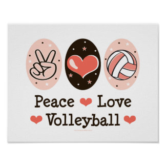 Peace Love Volleyball Poster