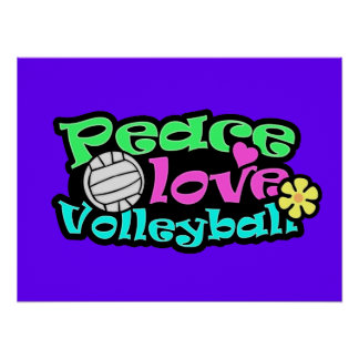 Peace Love Volleyball Retro Posters