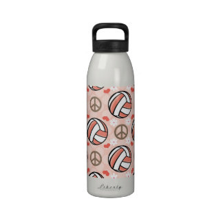 Peace Love Volleyball Water Bottle BPA Free