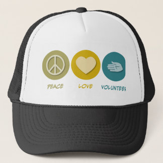 Peace Love Volunteer Trucker Hat
