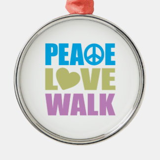 Peace Love Walk Silver-Colored Round Decoration