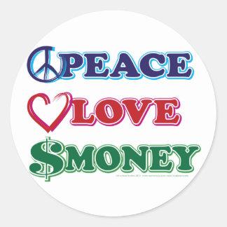 Peace-Love-Wall-Money Round Sticker