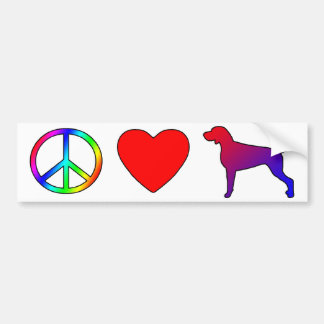 Peace Love Weimaraners Bumper Sticker