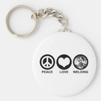 Peace Love Welding Basic Round Button Key Ring