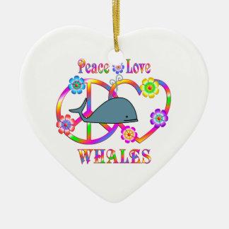 Peace Love Whales Ceramic Heart Decoration