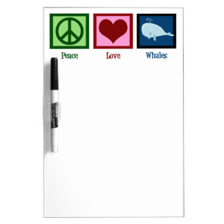 Peace Love Whales Dry Erase Whiteboard