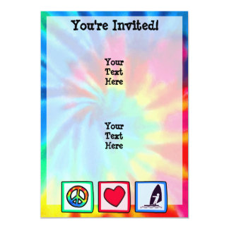 Peace, Love, Windsurfing 13 Cm X 18 Cm Invitation Card