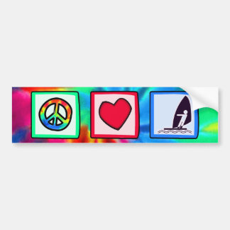 Peace, Love, Windsurfing Bumper Sticker