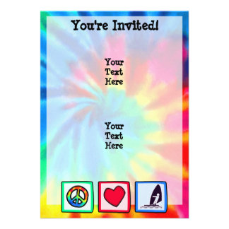Peace Love Windsurfing Custom Invitation