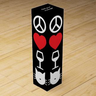 Peace, Love, Wine and Cats Custom Wine Gift Box