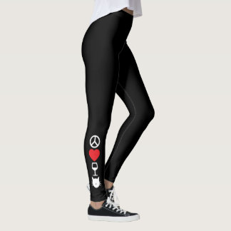 Peace, Love, Wine and Cats (symbols) Leggings