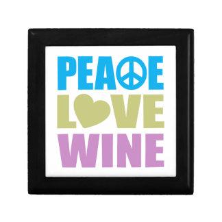 Peace Love Wine Small Square Gift Box