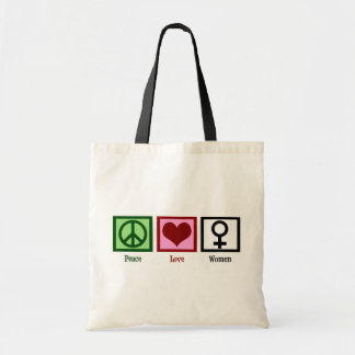Peace Love Women Budget Tote Bag
