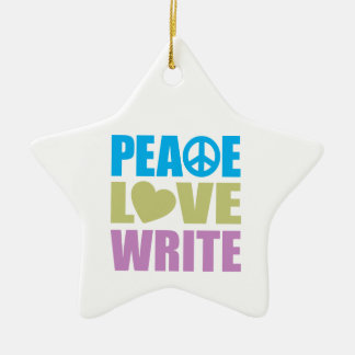 Peace Love Write Christmas Ornament