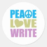 Peace Love Write Round Stickers