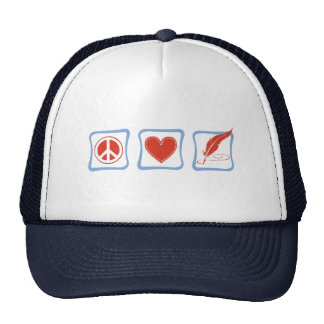 Peace Love Writers Squares Hat