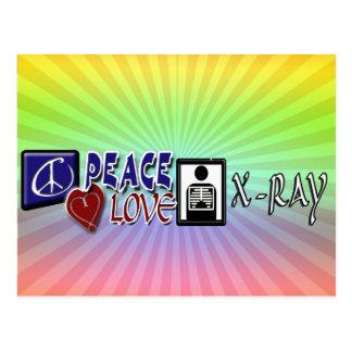 PEACE LOVE X-RAY LOGO 2 POSTCARD