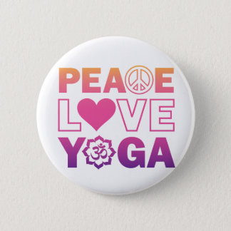 Peace Love Yoga 6 Cm Round Badge