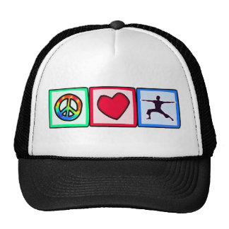 Peace, Love, Yoga Cap
