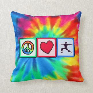 Peace, Love, Yoga Cushion