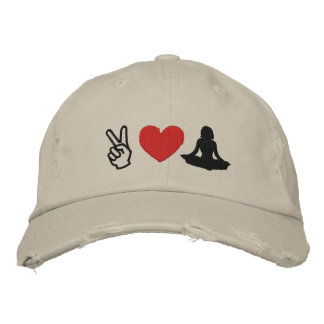 Peace Love Yoga Embroidered Cap Baseball Cap