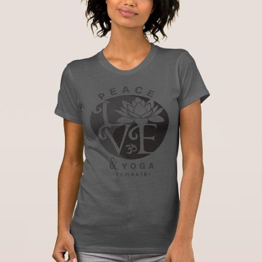 Peace, Love, & Yoga Grey-Black T-Shirt