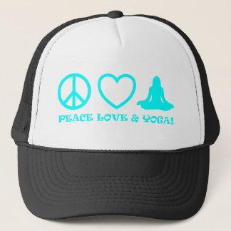 PEACE LOVE & YOGA PICTURES AQUA TRUCKER HAT