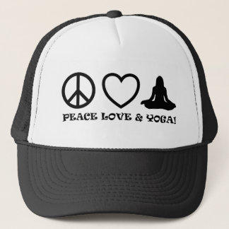 PEACE LOVE & YOGA PICTURES BLACK TRUCKER HAT