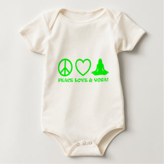 PEACE LOVE & YOGA PICTURES GREEN BABY BODYSUIT