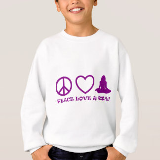 PEACE LOVE & YOGA PICTURES PURPLE SWEATSHIRT