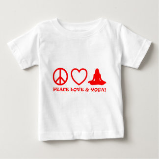 PEACE LOVE & YOGA PICTURES RED BABY T-Shirt