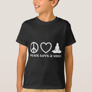 PEACE LOVE & YOGA PICTURES WHITE T-Shirt