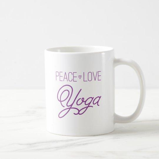 Peace, Love, Yoga (Purple) Coffee Mug