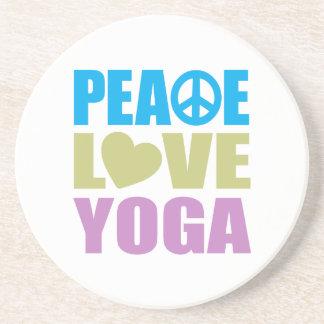 Peace Love Yoga Sandstone Coaster